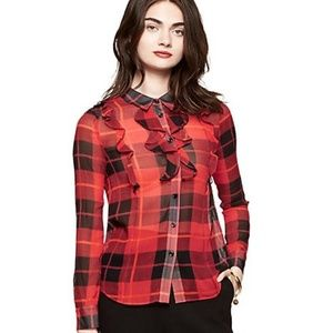 Kate Spade Woodland Plaid button down blouse